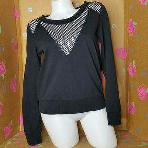 Desires Black Fishnet Long Sleeve Top Size M